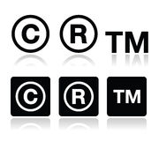 Πνευματικά δικαιώματα, διανυσματικά εικονίδια εμπορικών σημάτων καθορισμένα Στοκ εικόνα με δικαίωμα ελεύθερης χρήσης