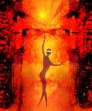 Πνευματικά οντα στον κόσμο και αρχαία πύλη στο υπόβαθρο Ζωγραφική και γραφική επίδραση ελεύθερη απεικόνιση δικαιώματος