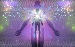 Πνευματική ανθρώπινη έννοια ξυπνήματος ή Enlightment διανυσματική απεικόνιση