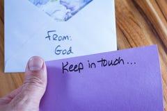 Πνευματικό μήνυμα στο ταχυδρομείο Στοκ Φωτογραφία