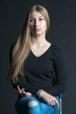 Πνευματικό πορτρέτο του ρωσικού όμορφου κοριτσιού με μακρυμάλλη Στοκ Φωτογραφίες