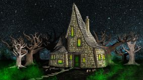 Πνευματικό σπίτι αποκριών στα ξύλα διανυσματική απεικόνιση