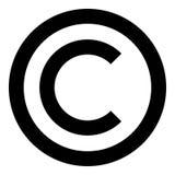Πνευματικών δικαιωμάτων συμβόλων εικονιδίων μαύρη απλή εικόνα ύφους έγχρωμης εικονογράφησης επίπεδη Στοκ Εικόνες
