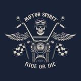 Πνεύμα μηχανών Γύρος ή κύβος Μοτοσικλέτα με τα φτερά Στοκ εικόνα με δικαίωμα ελεύθερης χρήσης