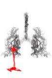 Πνεύμονας καπνού και αναπνευστικά ανθρώπινα σύστημα και αίμα Στοκ εικόνες με δικαίωμα ελεύθερης χρήσης