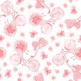 Ποδήλατα βαλεντίνων με τα μπαλόνια καρδιών και τις ανθοδέσμες λουλουδιών Άνευ ραφής σχέδιο, μονοχρωματικό κόκκινο στοκ φωτογραφίες