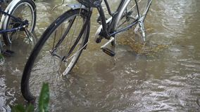 Ποδήλατα που στέκονται στη λακκούβα βαθιά νερών Πλημμυρίζοντας κατακλυσμός θύελλας στη Μπανγκόκ, Ταϊλάνδη Δυνατή βροχή μετά από τ απόθεμα βίντεο