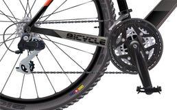 Ποδήλατο αθλητικών βουνών Πλάγια όψη Υψηλός - ποιότητα ρεαλιστική Ένα σύνολο αλυσσοτροχών αλυσίδων για ένα ποδήλατο απεικόνιση αποθεμάτων