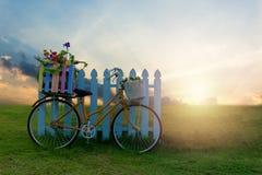 Ποδήλατο με το κλουβί λουλουδιών στοκ εικόνες