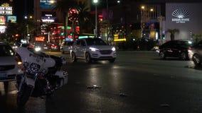 Ποδήλατο μηχανών αστυνομίας στη λεωφόρο του Λας Βέγκας - ΗΠΑ 2017 απόθεμα βίντεο