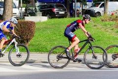 Ποδήλατο MTB που συναγωνίζεται στα σκαλοπάτια στην πόλη Ruzomberok, Σλοβακία Στοκ Φωτογραφία