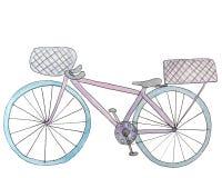 Ποδήλατο Watercolor με το καλάθι δύο απεικόνιση ράστερ για το σχέδιο απεικόνιση αποθεμάτων