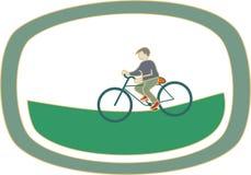 Ποδηλάτης αγοριών στη φύση, διάνυσμα απεικόνιση αποθεμάτων