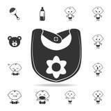 Ποδιά μωρών με το εικονίδιο λουλουδιών Σύνολο εικονιδίων παιχνιδιών παιδιών και μωρών Γραφικό σχέδιο εξαιρετικής ποιότητας εικονι Στοκ εικόνες με δικαίωμα ελεύθερης χρήσης