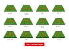 Ποδοσφαίρου σχηματισμών συλλογή που απομονώνεται διανυσματική στο λευκό Στοκ Εικόνες