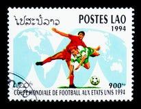 Ποδοσφαιριστές στον παγκόσμιο χάρτη, ποδόσφαιρο Παγκόσμιου Κυπέλλου serie, circa 199 Στοκ φωτογραφίες με δικαίωμα ελεύθερης χρήσης