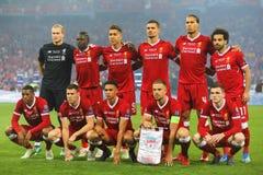 Ποδοσφαιριστές του αγγλικού Λίβερπουλ Στοκ φωτογραφία με δικαίωμα ελεύθερης χρήσης