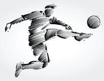 Ποδοσφαιριστής που πετά για να κλωτσήσει τη σφαίρα διανυσματική απεικόνιση