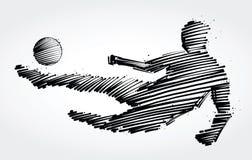 Ποδοσφαιριστής που πηδά για να κλωτσήσει τη σφαίρα Στοκ Εικόνες