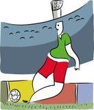 Ποδοσφαιριστής στο γήπεδο ποδοσφαίρου διανυσματική απεικόνιση