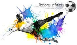 Ποδοσφαιριστής Συρμένη απεικόνιση σκίτσων σκιαγραφιών ποδοσφαίρου χέρι απεικόνιση αποθεμάτων
