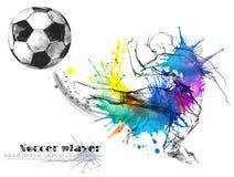 Ποδοσφαιριστής Συρμένη απεικόνιση σκίτσων σκιαγραφιών ποδοσφαίρου χέρι διανυσματική απεικόνιση