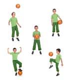 ποδόσφαιρο κολάζ αγοριών σφαιρών στοκ εικόνες