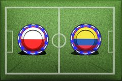 Ποδόσφαιρο, Παγκόσμιο Κύπελλο 2018, ομάδα Χ, Πολωνία - Κολομβία παιχνιδιών Στοκ Εικόνες