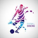 Ποδόσφαιρο που χορεύει με το ύφος παφλασμών ελεύθερη απεικόνιση δικαιώματος