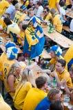 ποδόσφαιρο σουηδικά 2012 ευρο- ανεμιστήρων Στοκ Εικόνα