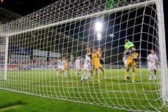 ποδόσφαιρο στόχου ενέργ&epsil στοκ εικόνες