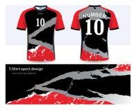 Ποδόσφαιρο Τζέρσεϋ και πρότυπο αθλητικού σχεδίου μπλουζών απεικόνιση αποθεμάτων