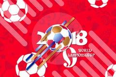 Ποδόσφαιρο υποβάθρου φλυτζανιών παγκόσμιου πρωταθλήματος ποδοσφαίρου 2018 απεικόνιση αποθεμάτων