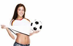 ποδόσφαιρο footba ευτυχές αυτή που παρουσιάζει τραβώντας τη γυναίκα Στοκ Εικόνα