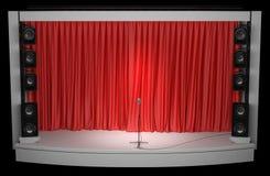 Ποικιλία με μια κόκκινη κουρτίνα και ένα μικρόφωνο στο μετρητή τρισδιάστατη απεικόνιση Στοκ Εικόνες