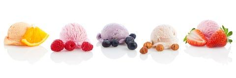 Ποικιλία παγωτού και sorbet που απομονώνεται Στοκ Φωτογραφία