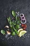 Ποικιλία των καρυκευμάτων: χορτάρια, σκόρδο, μαύρο πιπέρι, λεμόνι, αλατισμένο και κόκκινο κρεμμύδι θάλασσας r στοκ φωτογραφία με δικαίωμα ελεύθερης χρήσης