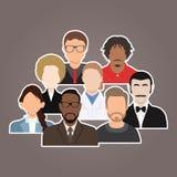 Ποικιλομορφία ανθρώπων ομάδας, διαφορετικοί επιχειρησιακός άνδρας και εικονίδια ειδώλων γυναικών Στοκ Εικόνες