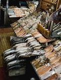 Ποικιλομορφία των φρέσκων & αποξηραμένων ψαριών και των θαλασσινών στο σημάδι ψαριών Angelmo Στοκ Εικόνα