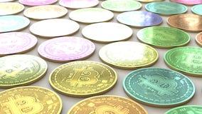 Ποικιλοτρόπως χρωματισμένο Bitcoins σε ένα σφιχτό ακόμη και πλέγμα σε μια απλή συγκεκριμένη επιφάνεια διανυσματική απεικόνιση