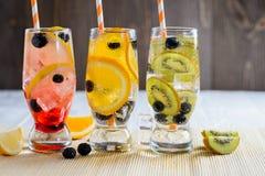 Ποικιλία της κρύας λεμονάδας με τα φρούτα και τα μούρα Στοκ φωτογραφία με δικαίωμα ελεύθερης χρήσης
