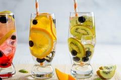 Ποικιλία της κρύας λεμονάδας με τα φρούτα και τα μούρα Στοκ Φωτογραφία