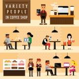 Ποικιλία των ανθρώπων στη καφετερία Στοκ Φωτογραφίες