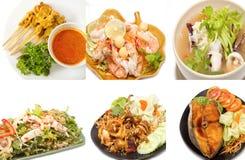 Ποικιλία των δημοφιλών ταϊλανδικών τροφίμων Στοκ Εικόνες