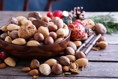 Ποικιλία των καρυδιών με τα κοχύλια για τα Χριστούγεννα Στοκ Εικόνες