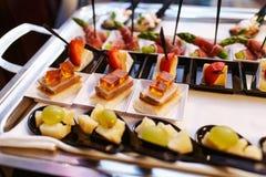 Ποικιλία των πρόχειρων φαγητών κρέατος, ψαριών και φρούτων Στοκ Εικόνες