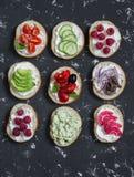 Ποικιλία των σάντουιτς - τα σάντουιτς με το τυρί, ντομάτες, αντσούγιες, έψησαν τα πιπέρια, σμέουρα, αβοκάντο, πατέ φασολιών, αγγο Στοκ εικόνα με δικαίωμα ελεύθερης χρήσης