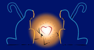 Ποιμένες που γονατίζουν πριν από την καρδιά του Ιησού νηπίων ελεύθερη απεικόνιση δικαιώματος