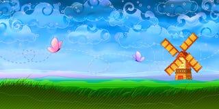 ποιμενικός ανεμόμυλος τοπίου πεταλούδων Στοκ φωτογραφία με δικαίωμα ελεύθερης χρήσης