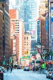 ΠΟΛΗ της ΝΕΑΣ ΥΌΡΚΗΣ - 1 Ιανουαρίου όμορφη οδός της πόλης και της Αμερικής της Νέας Υόρκης, την 1η Ιανουαρίου 2018 στο Μανχάταν,  Στοκ Φωτογραφίες
